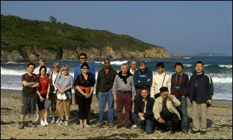 delegates on the beach in Falmouth
