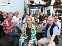 Delegates enjoy a drink after Barry's guided walk